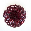 Brož - kytička - tmavě červená