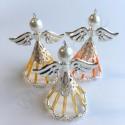 Vánoční ozdoba anděl s dlouhou sukní - barva zlatá - materiál