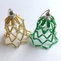 Vánoční ozdoba - zvonek zeleno-stříbrné barvy
