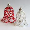Vánoční ozdoba zvoneček - barva stříbrná - materiál
