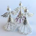Vánoční ozdoba anděl s dlouhou sukní - barva stříbrná - materiál