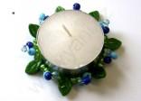 Dekorace - věneček na čajovou svíčku modrý